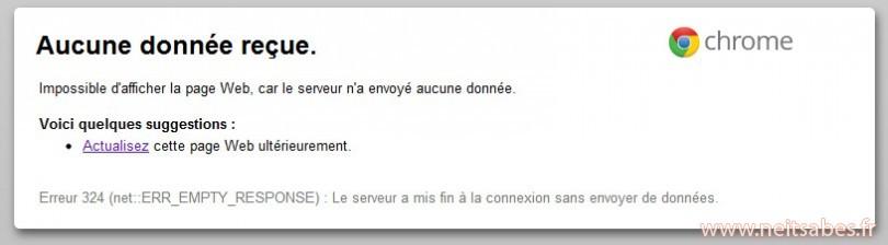 """Résoudre l'erreur 324 """"aucune donnée reçue"""" de certains sites sous Chrome (comme Izneo)."""